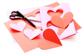 scattered Valentine's Day cards