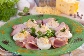 plate of eggs and ham