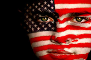 American Flag painted on child's face