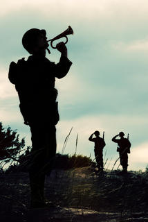 soldier playing a trumpet