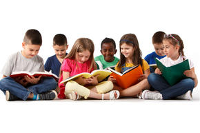 Group of kids reading