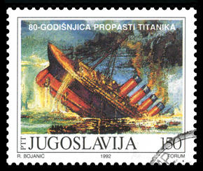 Yugoslavian postage stamp of the Titanic sinking