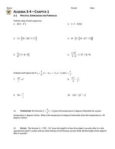1-1 Practice: Expressions and Formulas Worksheet