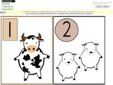 1, 2, 3, 4 Picture/Number Cards Worksheet
