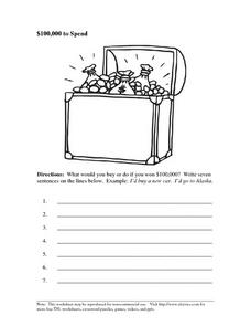 $10,000 to Spend: Writing Sentences Worksheet