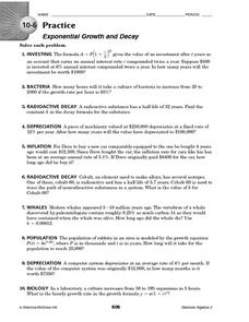 Printables Exponential Growth And Decay Worksheet 10 6 practice exponential growth and decay 10th 12th grade worksheet
