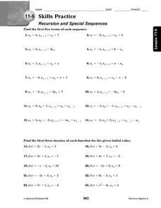 11-6 Skills Practice: Recursion and Special Sequences Worksheet