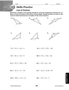 13-5 Skills Practice: Law of Cosines Worksheet