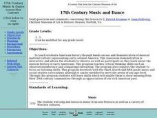 17th Century Music and Dance Lesson Plan