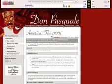 1846: Portrait of America in the Time of Don Pasquale: An Historic Look at American Life During the 1840's Lesson Plan