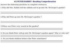 #2 Peter Rabbit - Reading Comprehension Worksheet