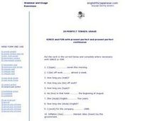 20 Perfect Tenses Worksheet