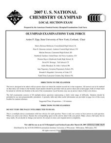 2007 U.S. National Chemistry Olympiad Local Section Exam Worksheet