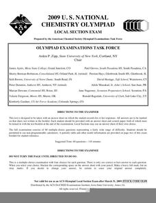 2009 U. S. National Chemistry Olympiad - Local Section Exam Worksheet
