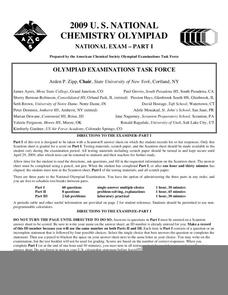 2009 U.S. National Chemistry Olympiad National Exam - Part I Worksheet
