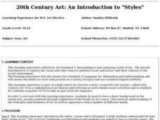 "20th Century Art: An Introduction to ""Styles"" Lesson Plan"