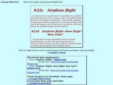 #22c  Airplane flight  #22d  Airplane flight--How High?  How Fast? Lesson Plan