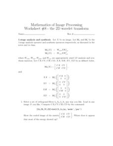 2D Wavelet Transform Worksheet