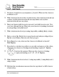 2nd Grade Word Problems: Probability Worksheet