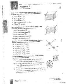 3.1 Practice B: Lines & Angles 9th - 12th Grade Worksheet ...