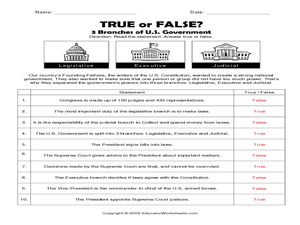 3 branches of the u s government true or false 5th 8th grade worksheet lesson planet. Black Bedroom Furniture Sets. Home Design Ideas
