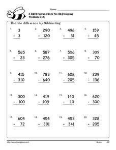 math worksheet : 3 digit subtraction no regrouping worksheet 6 1st  2nd grade  : Subtraction Regrouping Worksheet