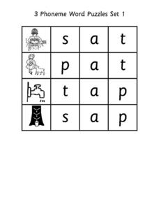 3 Phoneme Word Puzzles Set 1 Worksheet