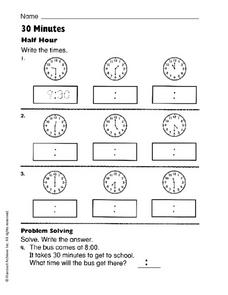 30 Minutes Worksheet