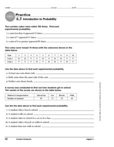 4.3 Introduction to Probability Worksheet