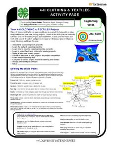 4-H Clothing and Textiles Activity Page Worksheet