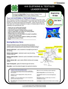4-H Clothing and Textiles Leader's Page Worksheet
