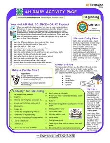 4-H Dairy Activity Page; Ethical Decision Making Worksheet