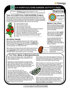 4-H Horticulture/Garden Activity Page- Beginning Worksheet
