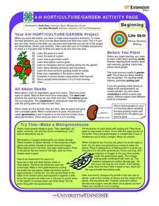 4-H Horticulture/Garden Activity Page Worksheet
