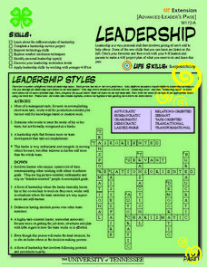 4-H Leadership - Advanced Learner's Page Worksheet