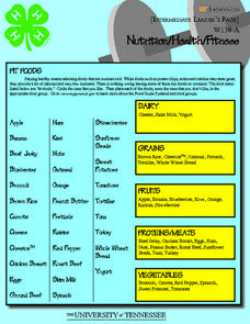 4-H Nutrition/Health/Fitness- Intermediate Leader's Page Worksheet