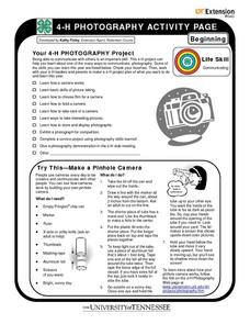 4-H Photography Beginning Activity Pages Worksheet