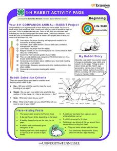 4-H Rabbit Activity Page Worksheet