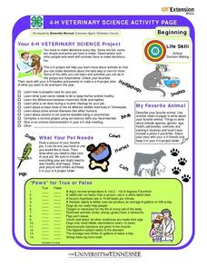 4-h Veterinary Science Activity Page Worksheet