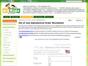 4th of July - Alphabetical Order Worksheet Worksheet