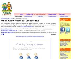 4th of July Worksheet - Count to Five Worksheet