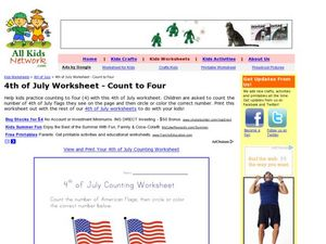 4th of July Worksheet - Count to Four Worksheet