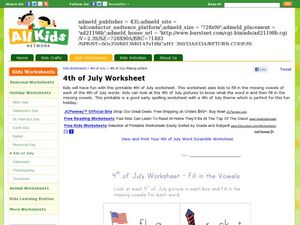4th of July Worksheet - Fill in the Vowels Worksheet