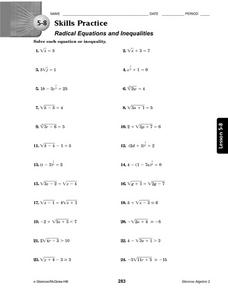 5-8 Skills Practice: Radical Equations and Inequalities Worksheet
