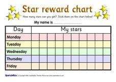 5 day reward charts pre k 3rd grade printables