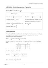 5: Dividing Whole Numbers by Fractions Worksheet