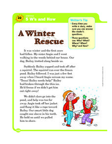 5 W's and How: A Winter Rescue Worksheet