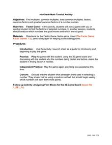 5th Grade Math Tutorial Activity Worksheet