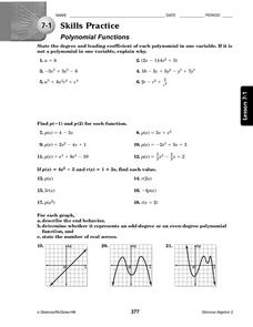 Printables Polynomial Practice Worksheet 7 1 skills practice polynomial functions 10th 11th grade worksheet