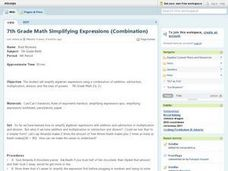 7th Grade Math Simplifying Expressions (Combination) Lesson Plan